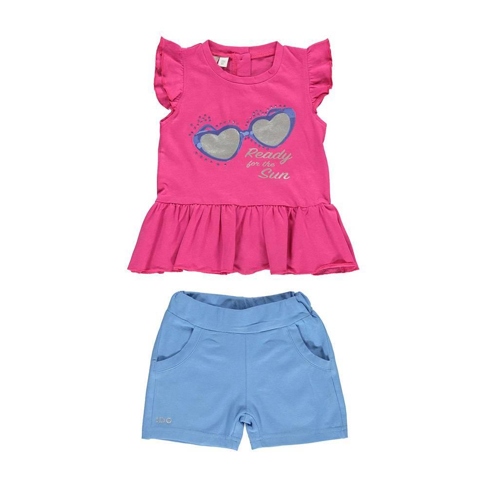 Комплект для девочки iDO костюм летний трикотаж бавовна футболка шорты принт 4.U796.00/8418