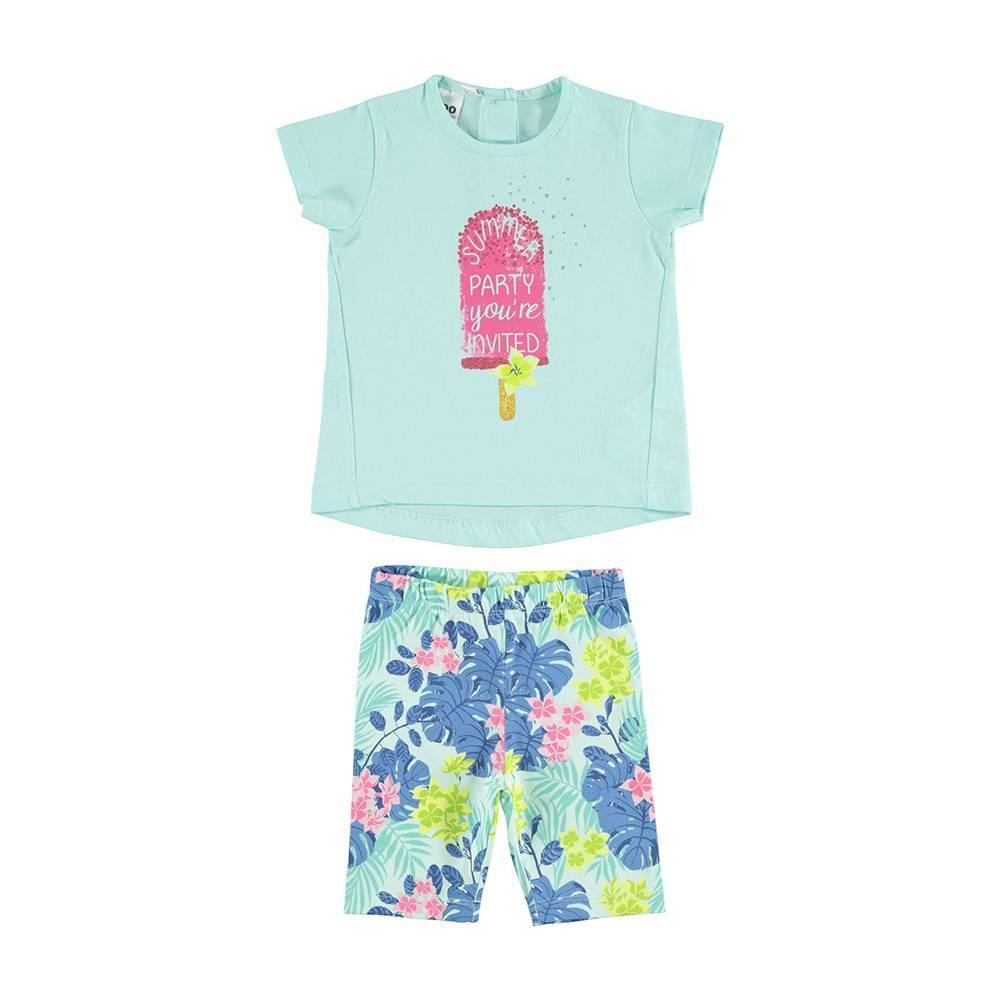 Комплект для девочки iDO костюм летний хлопок трикотаж с рюшами 4.U797.00/8419