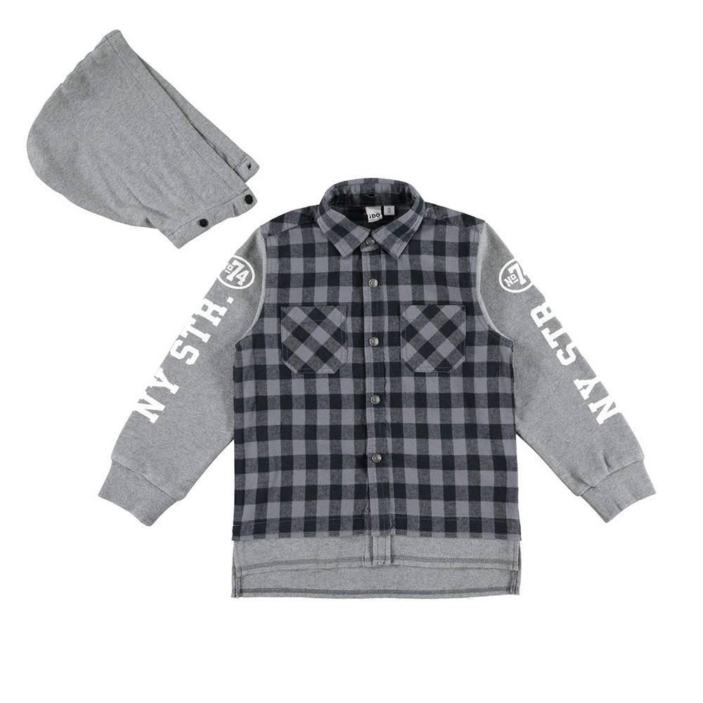 Рубашка для мальчика iDO подросток контрастные рукава капюшон 4.V700.00