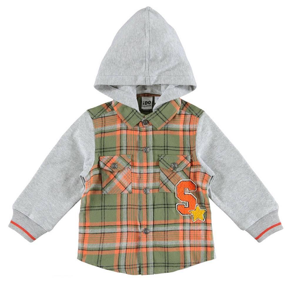 Рубашка для мальчика iDO хлопковая с капюшоном клетчатая 4.V500.00