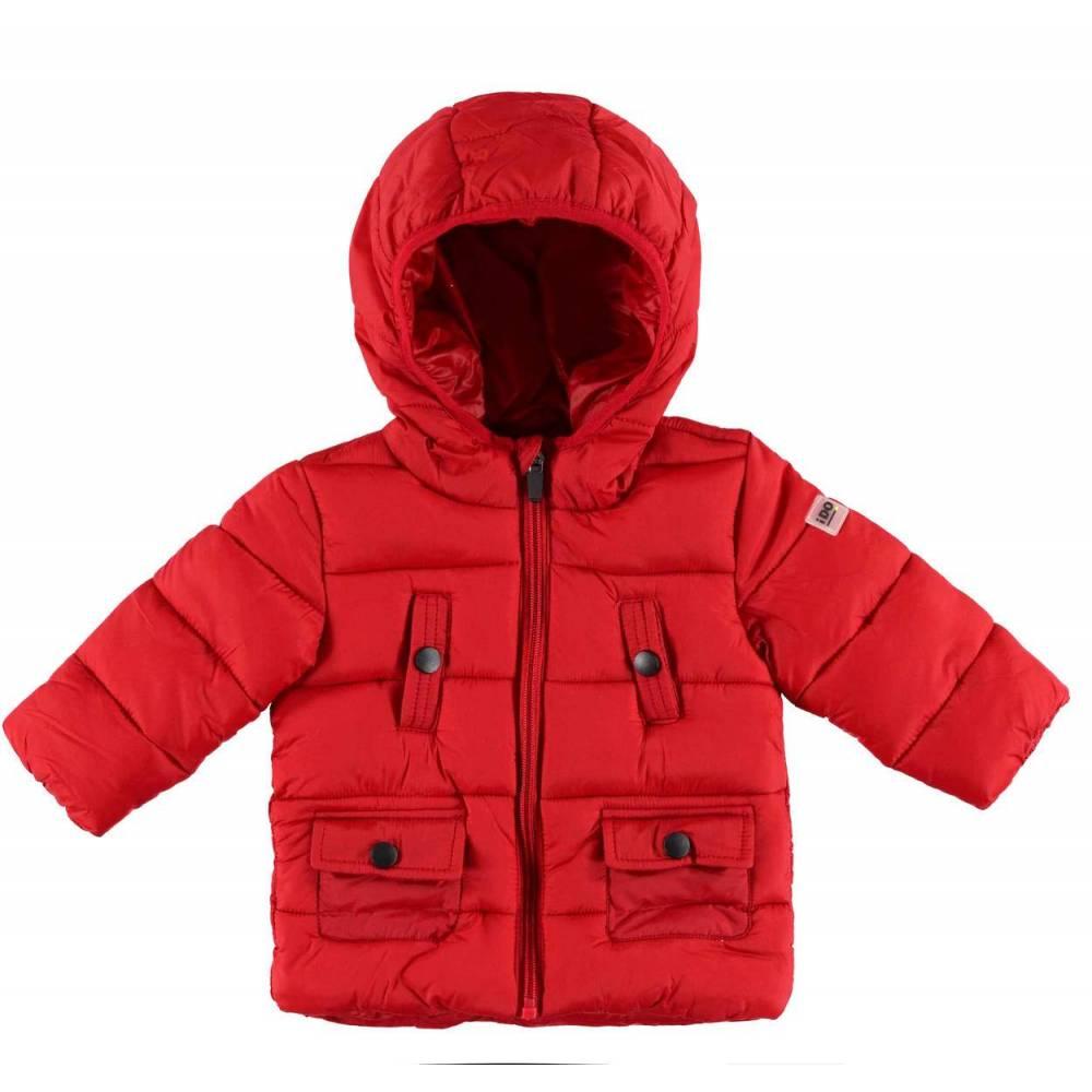 Куртка для мальчика iDO красная демисезонная стеганая с капюшоном 4.V593.00/2253