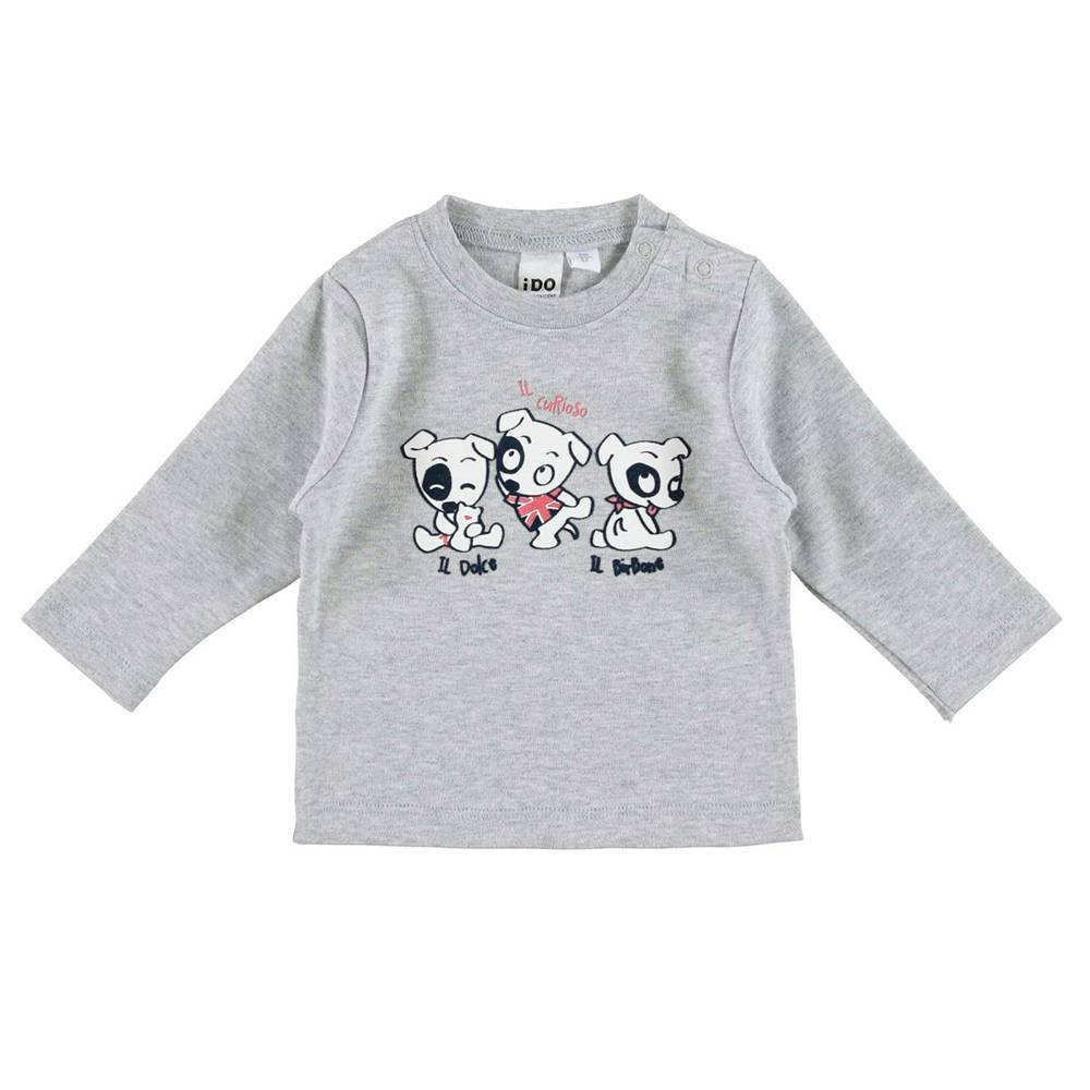 Реглан для мальчика iDO новорожденного хлопок серый трикотаж принт 4.V250.00/8992
