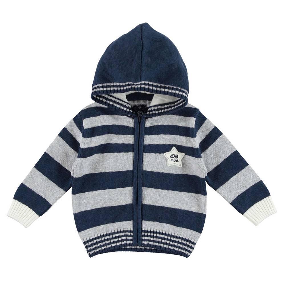 Кардиган для мальчика iDO вязаный полосатый с капюшоном 4.V290.00/3856