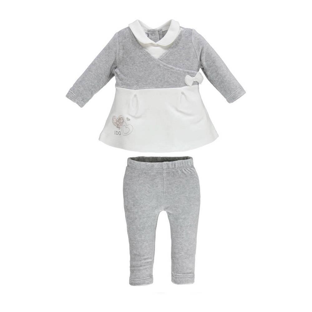 Комплект для девочки iDO новорожденной трикотаж хлопок серый 4.V463.00/8139