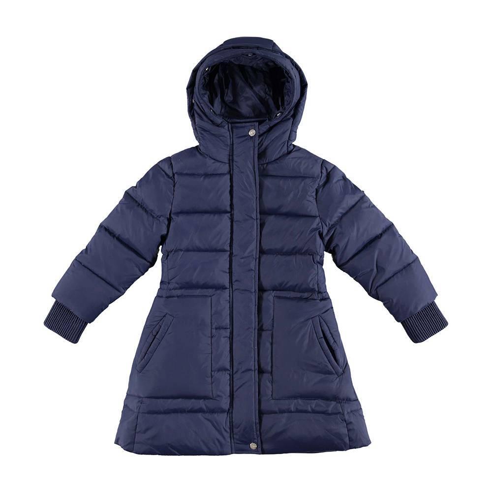 Пальто для девочки iDO пуховое зимнее стеганное капюшон с опушкой 4.V883.00/3854