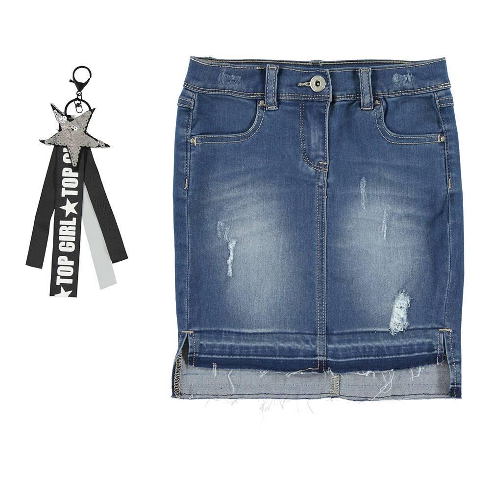 Юбка для девочки iDO джинсовая с брелком 4.V951.00/7450