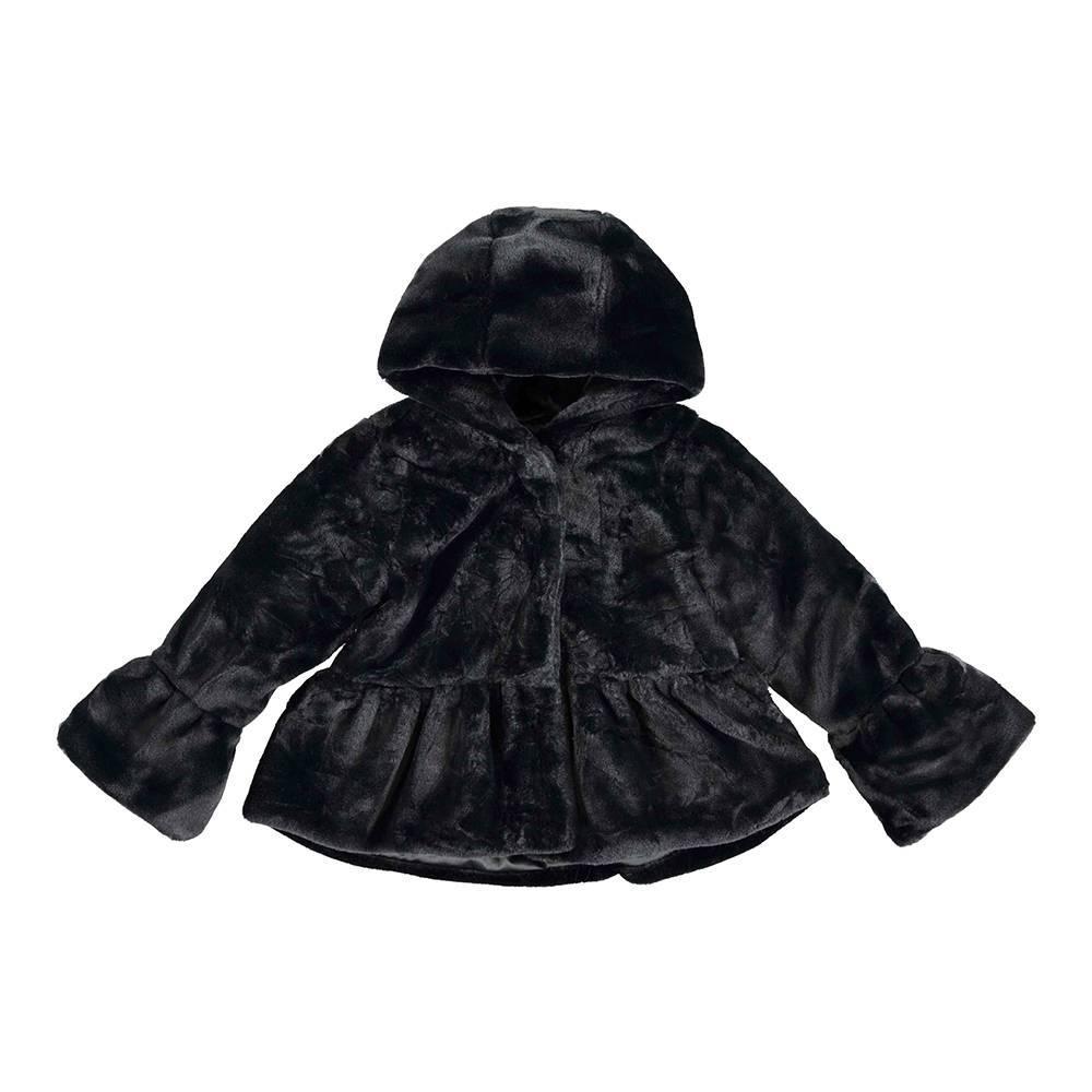 Шубка для девочки iDO черный искусственный мех капюшон 4.V987.00/0658