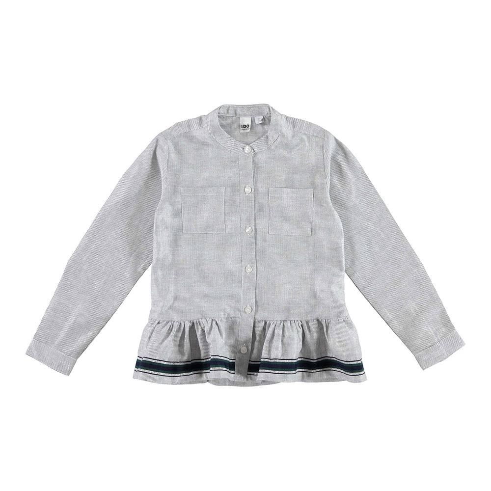 Рубашка для девочки iDO хлопок серый в полоску 4.V991.00/8403