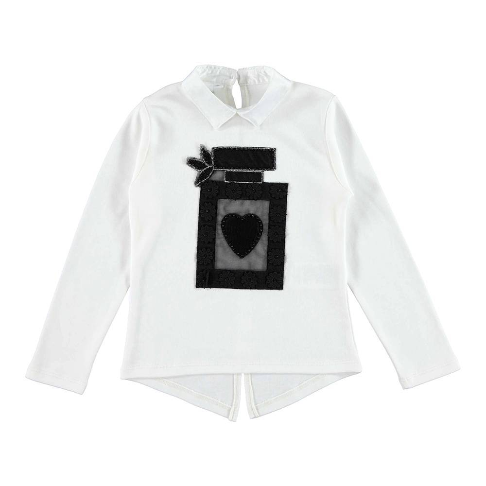 Реглан для девочки iDO белый трикотаж аппликация 4.V993.00/0112