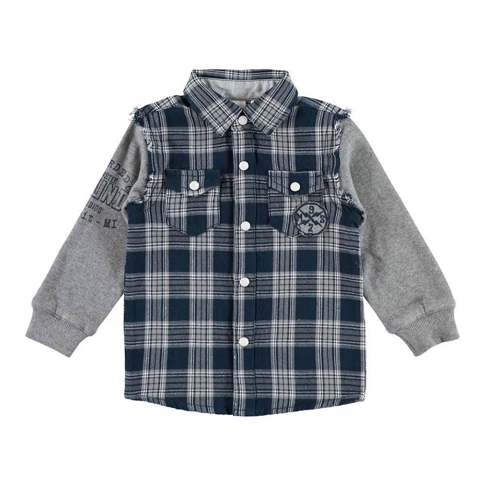 Рубашка мальчика iDO клетчатая трикотажный рукав 4.V506.00/3856