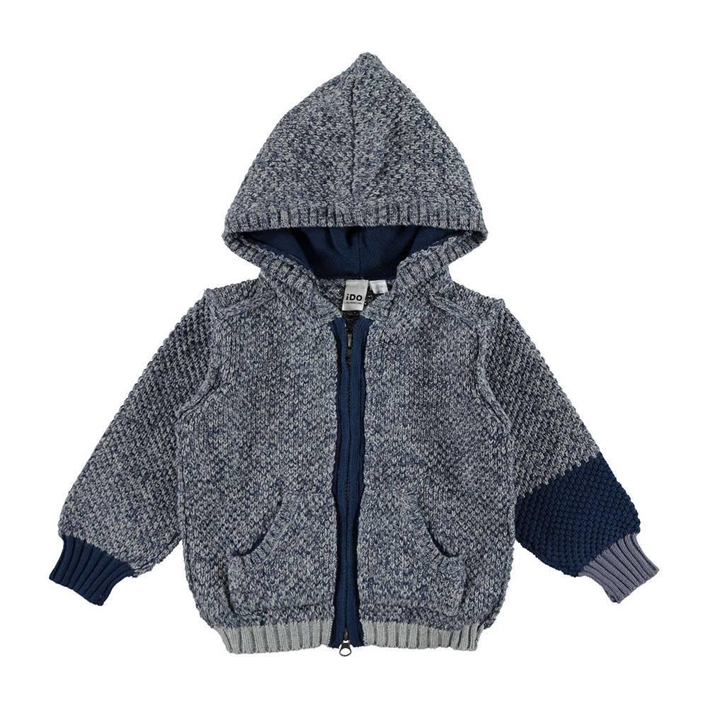Кардиган для мальчика iDO вязаный с капюшоном серый меланж 4.V569.00/8970