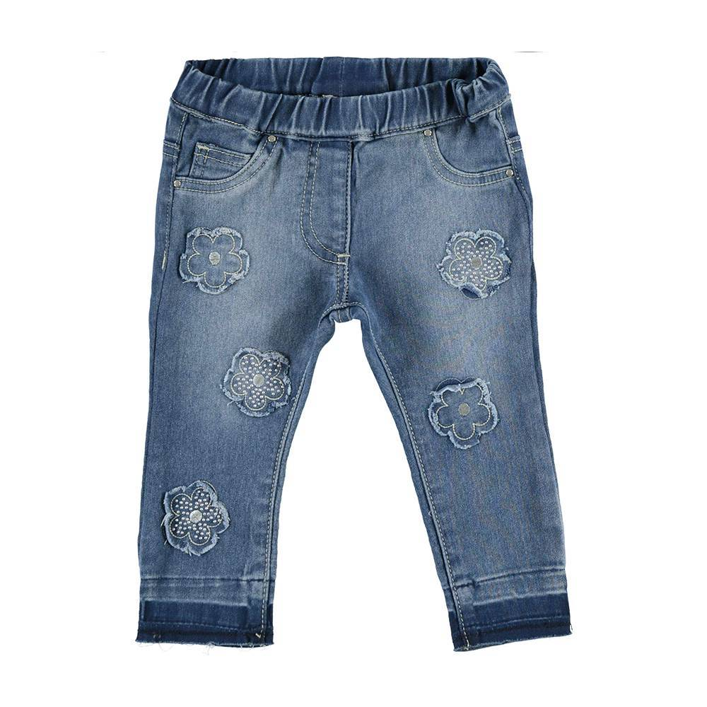 Джинсы для девочки iDO синий потертости вышивки 4.V673.00/7450