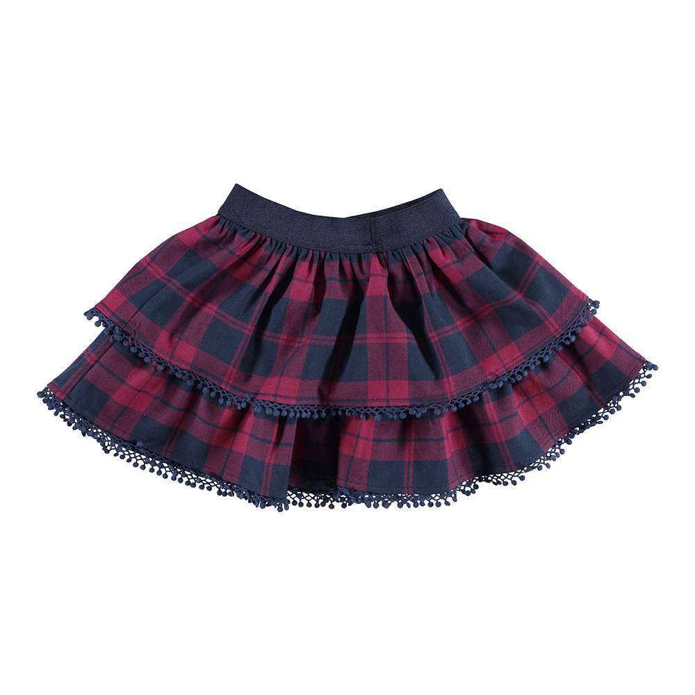 Юбка для девочки iDO текстиль клетка красный 4.V675.00/8197
