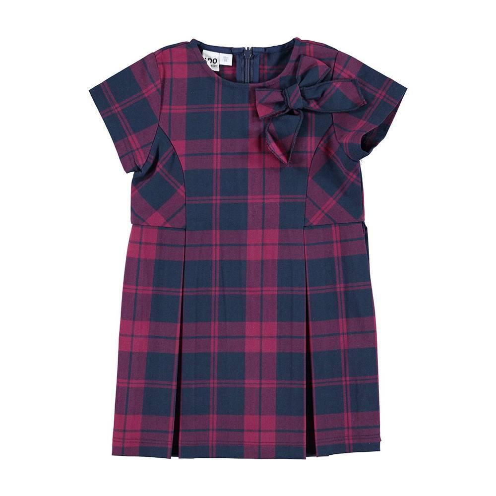 Платье для девочки iDO короткий рукав текстиль хлопок клетка 4.V697.00/8197