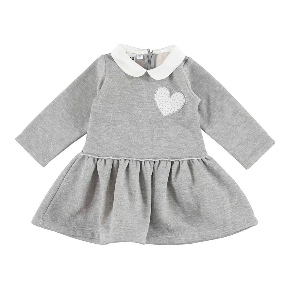 Платье для девочки iDO длинный рукав трикотаж серый с оборкой 4.V698.00/8445