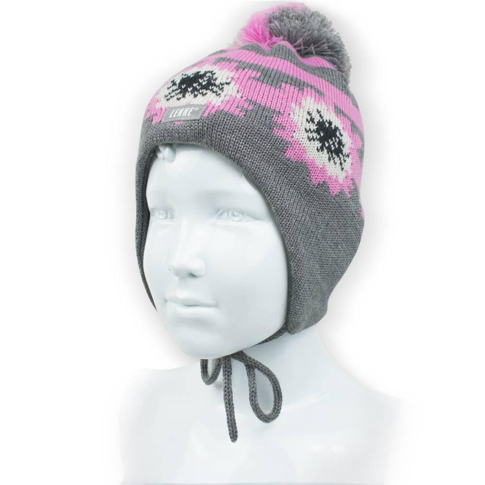 Шапка для девочки LENNE зимняя вязанная жаккардовые цветы помпон завязки NEINA 18378/390