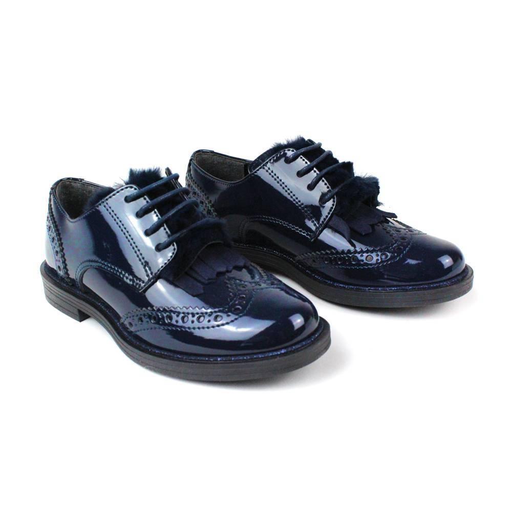 Туфли для девочки IDO черные на шнурках 4.V084.00/0658