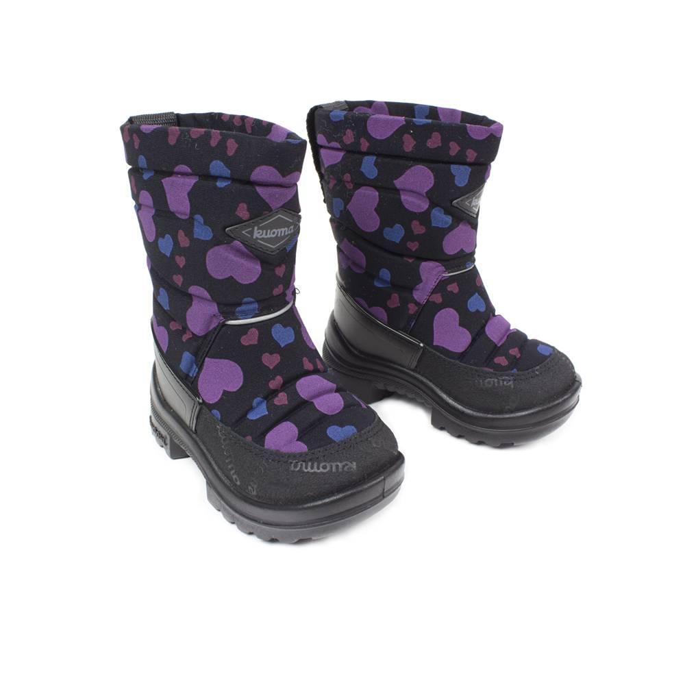 Сапоги для девочки KUOMA зимние черные с принтом 1303/0307