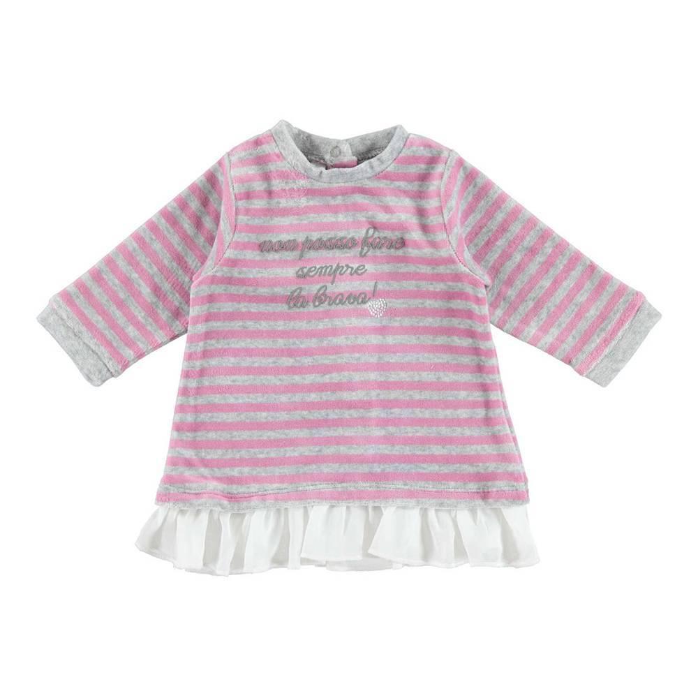 Платье для девочки iDO трикотаж велюр длинный рукав рюши шифон 4.V427.00/2746