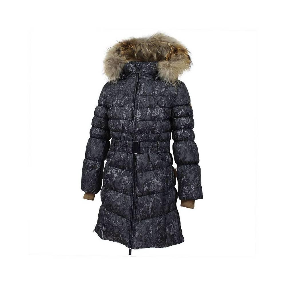 Пальто для девочки HUPPA зимнее пуховое капюшон с опушкой YASMINE