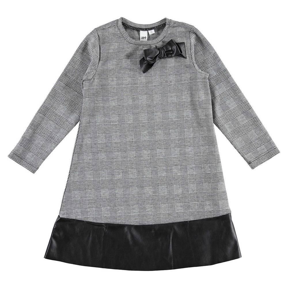 Платье для девочки iDO подросток длинный рукав клетка вставка эко кожа 4.V955.00/0658
