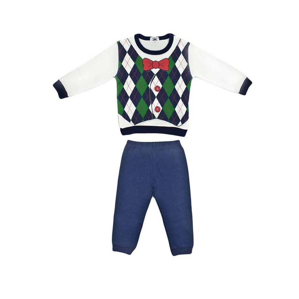 Пижама для мальчика iDO хлопок трикотаж длинный рукав цветной принт 4.V053.00/8020