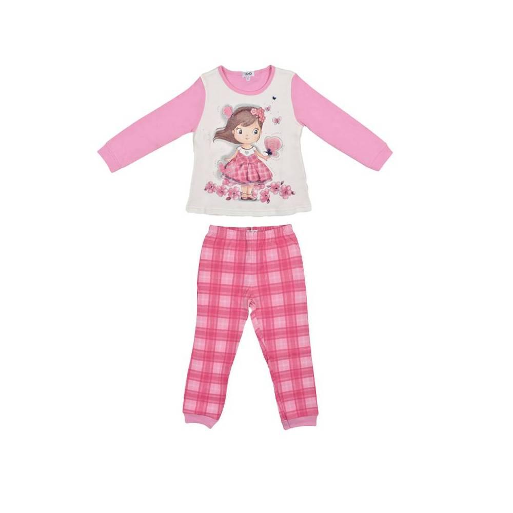 Пижама для девочки iDO теплая реглан штаны хлопок трикотаж принт 4.V058.00/8002