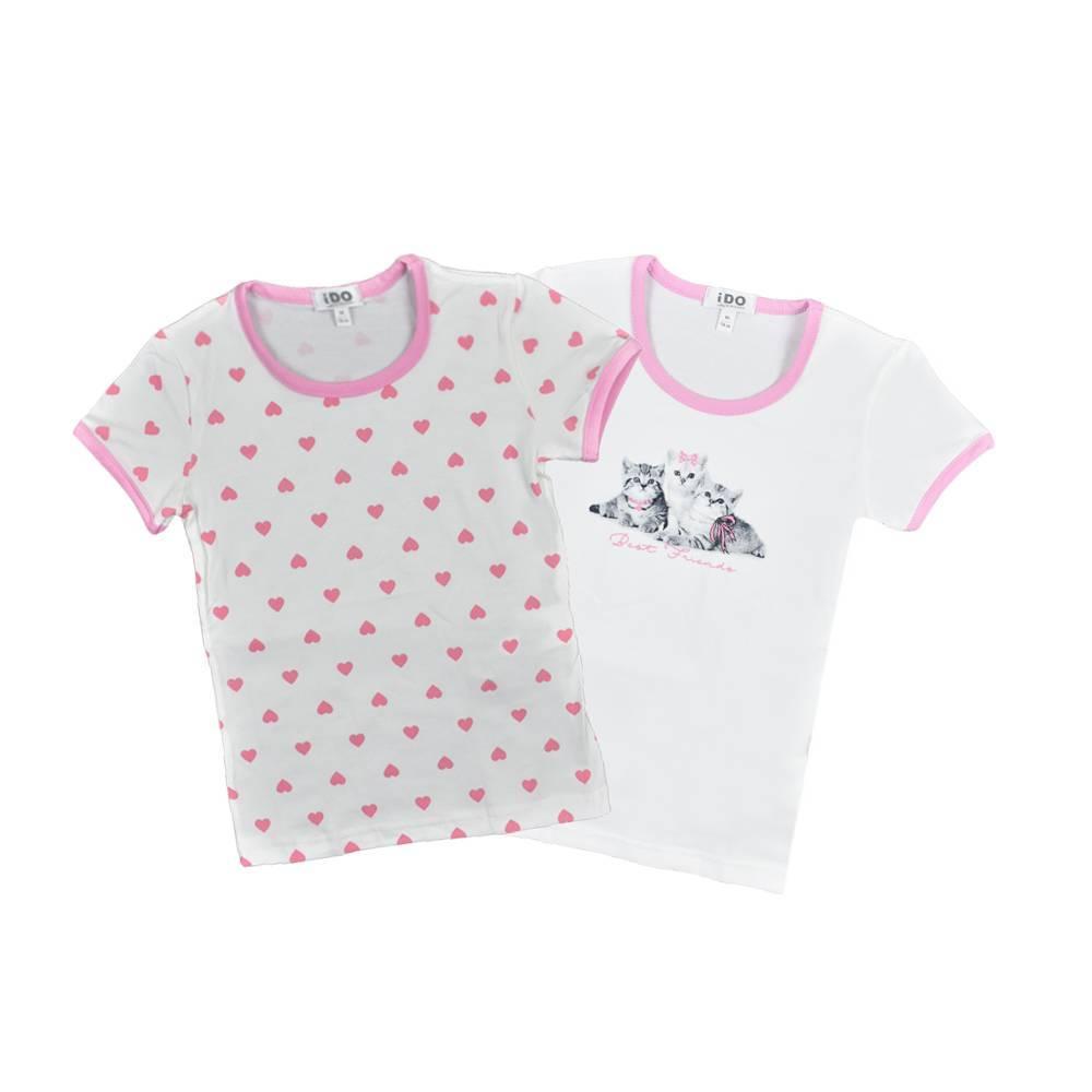 Комплект футболок для девочки IDO хлопок трикотаж принт 4.V070.00/0113