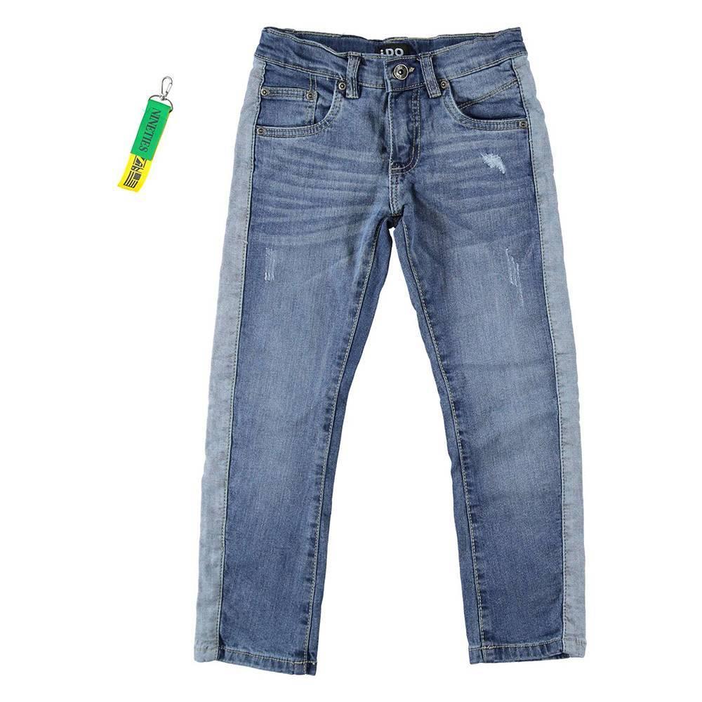 Джинсы для мальчика iDO подростка выбеленные с потертостями боковая вставка регулируемая талия 4.W417.00/7400