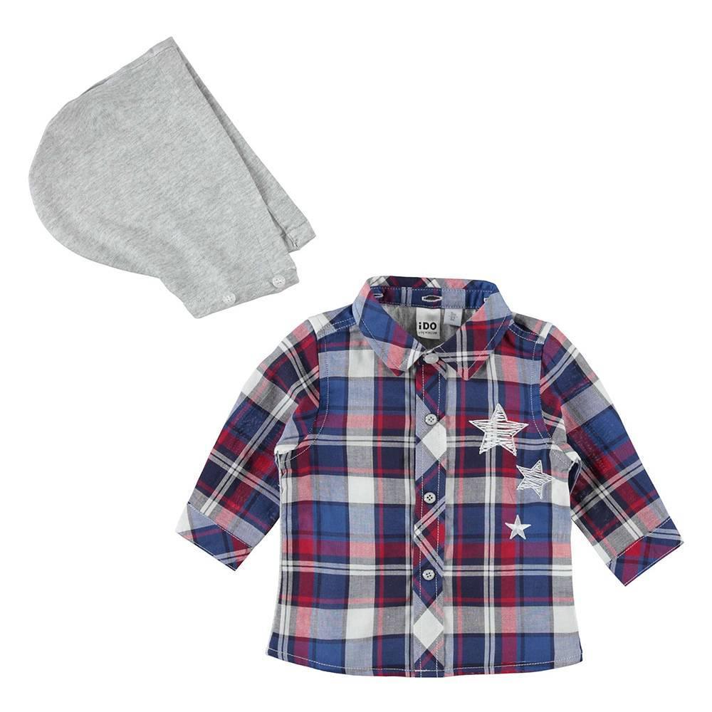 Рубашка для мальчика iDO хлопок в клетку с капюшоном 4.W168.00/3727
