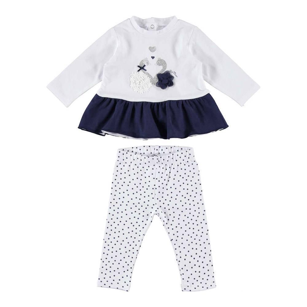 Комплект для девочки iDO хлопок трикотаж свитер с оборкой леггинсы в горошек 4.W150.00/8020
