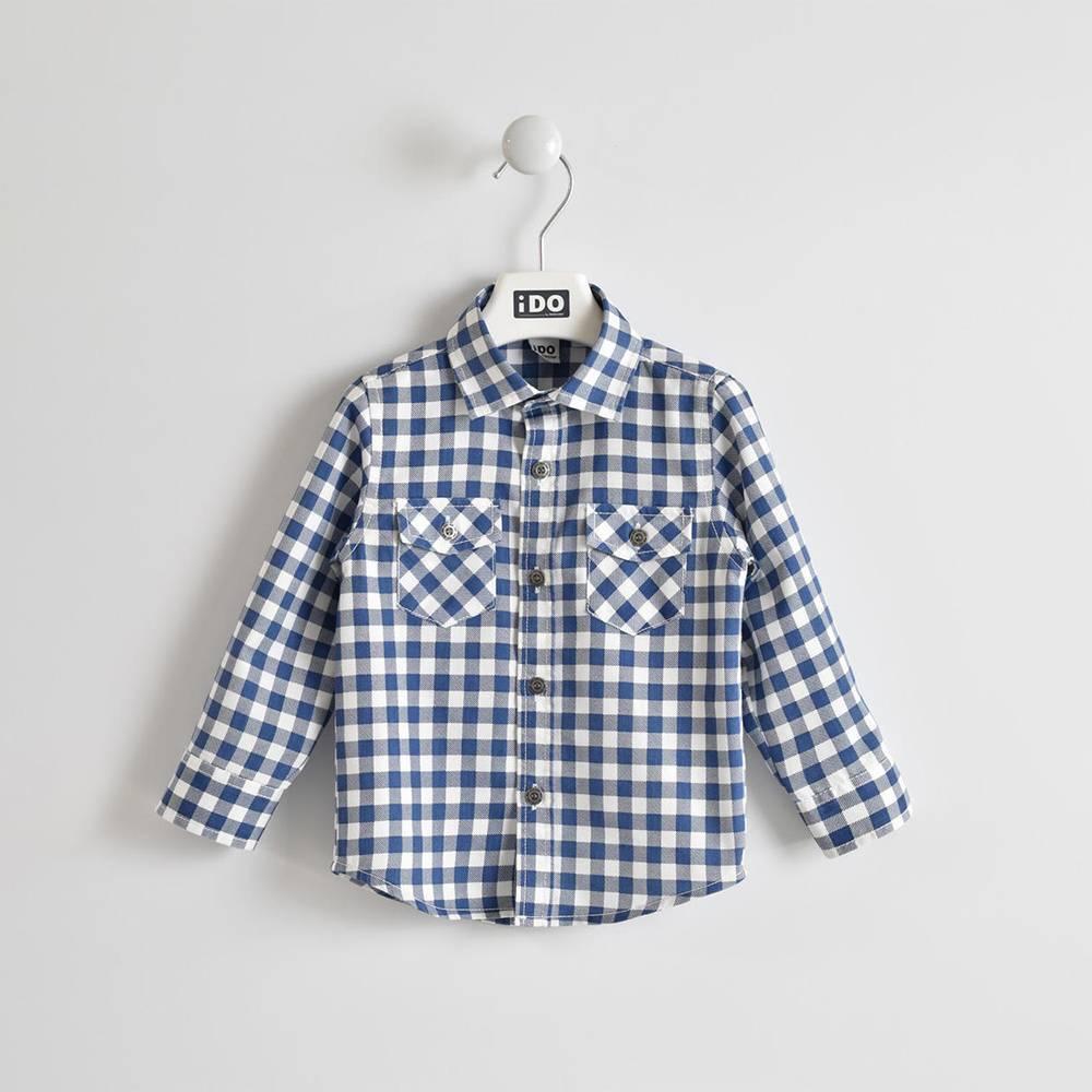 Рубашка для мальчика iDO в клетку нагрудные карманы фирменные пуговицы 4.W204.00/7450