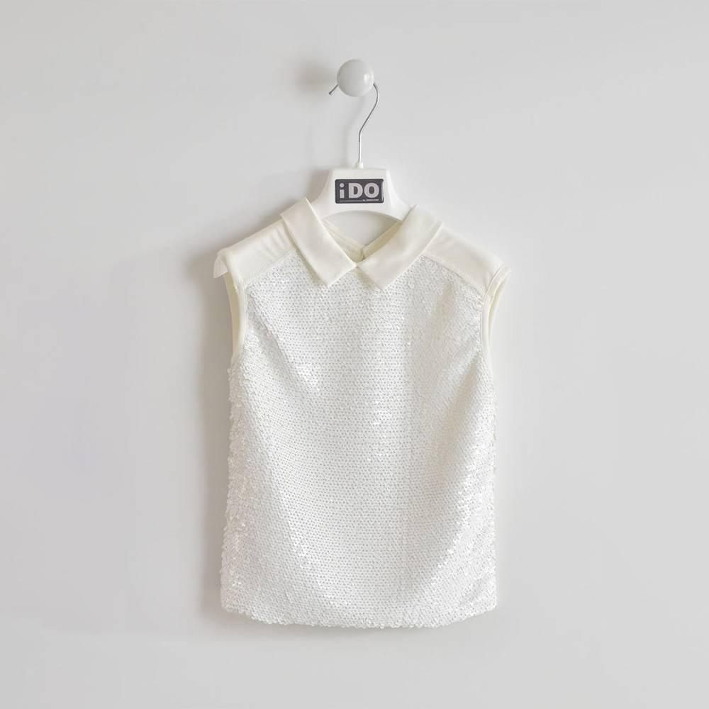 Блуза для девочки iDO без рукава нарядная хлопок блестки 4.W502.00/0112